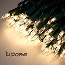 Lidore? Super Bright LED Mini Christmas Tree Lights. 100 Count Bulbs with 52 Ft Green wire. Warm White Color Similar to incandescence mini lights. Longer Lifetime, More Safety.
