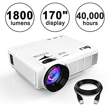 DR.J (Upgraded) 1800Lumens 4Inch Mini Projector with 170 Inch Display - 40,000 Hour LED Full HD Video Projector 1080P, Compatible with Amazon Fire TV Stick, HDMI, VGA, USB, AV, SD for Home Theater
