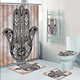 Philip-home 5 Piece Banded Shower Curtain Set Hamsa Hand of Fatima Style Mandala ation with Evil Eye Mystic EasternReligious Cream Brown Decorate The Bath