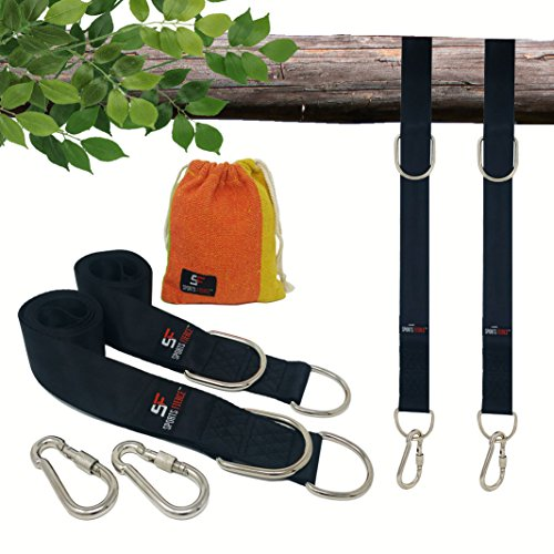 TREE SWING STRAPS HANGING KIT - EXTRA LONG 8 ft Set of 2 Outdoor swing tie gear with HEAVY DUTY NICKEL PLATED hardware and hangers, Break Strength of 2400 LBS (Nickel Bed Set)