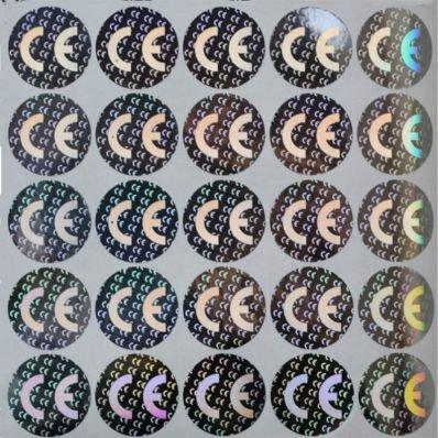 StickersLab - 100 Etichette CE(Conformità Europea) adesive sigilli ologrammi di garanzia e sicurezza oro e argento 20mm