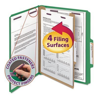 Smead SafeSHIELD Colored Classification Folder - Letter - 8.5 x 11 - 2/5 Cut Tab on Right of Center - 1 Divider - 2 Expansion - 2 Fastener - 2 Capacity - 10 / Box - 23pt. - Green by Smead