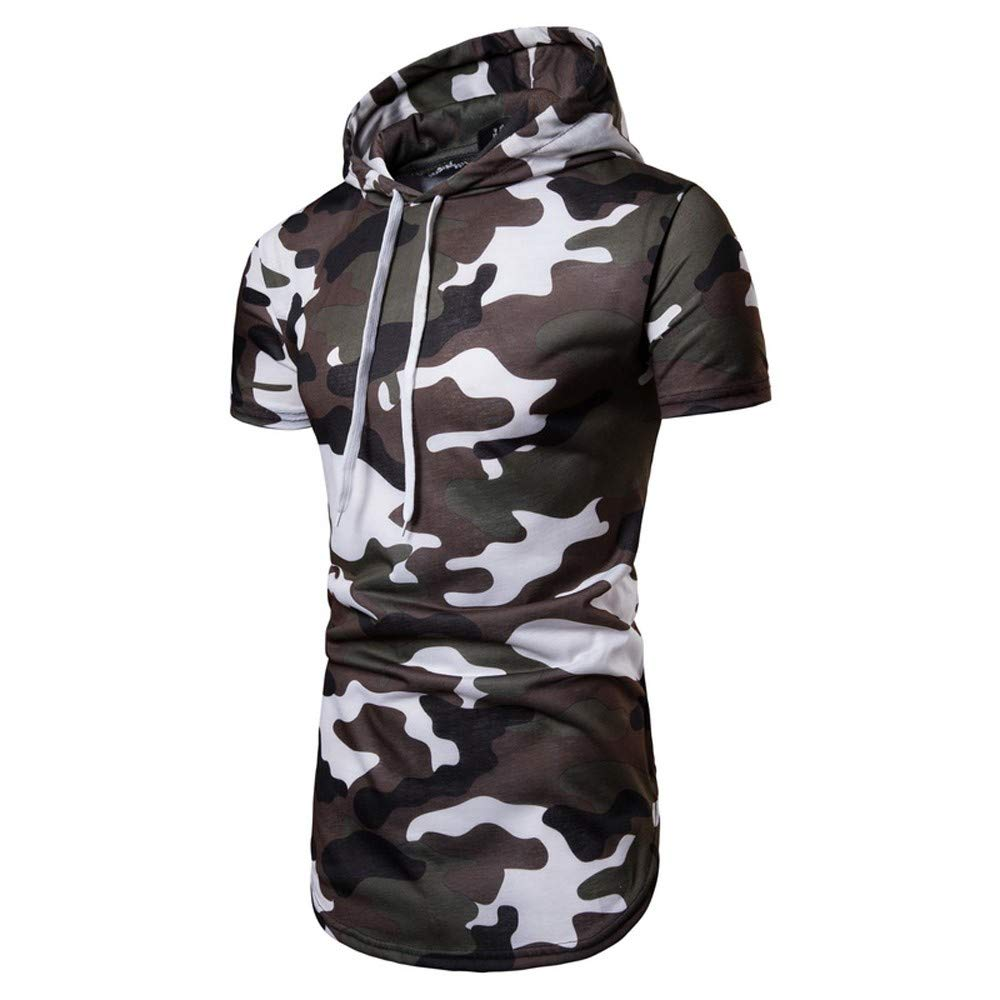 PASATO Clearance! Casual Camouflage Short Sleeve Pullover Autumn Sweatshirt Hoodie Coat Top Mens Coat Top Featured(White, M)