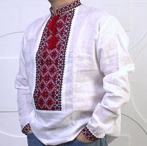 화이트 VYSHYVANKA MENS 리넨 셔츠 레드 블랙 수제 수 놓은 S 사이버 위크 세일