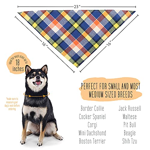PrimePets Dog Bandana for Small Dogs, Pack of 4, Pet Puppy Bandanas for Boys, Plaid Kerchief Bandana Collar, Cotton Scarves Bibs for Cats, Triangle Shape, Washable