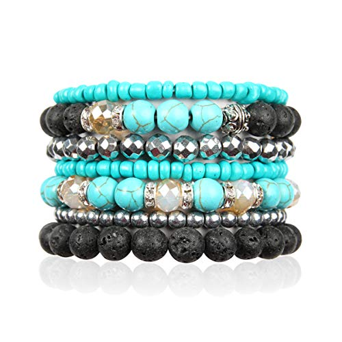 (RIAH FASHION Bohemian Lava Stone Essential Oil Diffuser Multi Strand Layer Bracelet - Healing Aroma Therapy Beaded Natural Volcano Rock Stretch Bangles Lotus, Hematite ([L-XL] Layer Mix - Turquoise))