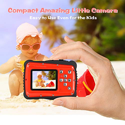 Waterproof Digital Camera for Kids, ishare Update Underwater Camera with 2.0'' LCD, 8X Digital Zoom, 1080p Flash and Mic for Girls/Boys(RED) by ISHARE (Image #2)