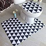 3pcs Set Bathroom Rugs Ocean Underwater Wold Anti-Skid Bath Tub Carpet Toilet Cover
