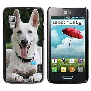 Be Good Phone Accessory // Dura Cáscara cubierta Protectora Caso Carcasa Funda de Protección para LG Optimus L5 II Dual E455 E460 // White Shepherd Dog Panting Tongue