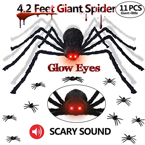 Gamegie Halloween Decorations Outdoor Giant Spider,50'' Fake Spiders That Look Real with Glowing Eyes and Scary Sound, Quake Scary Halloween Props Including 10 pcs Plastic Spider