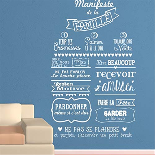 (Wall Stickers Quotes Vinyl Art Room Mural Posters French le manifeste Familial du Salon The Family Manifesto for Living)