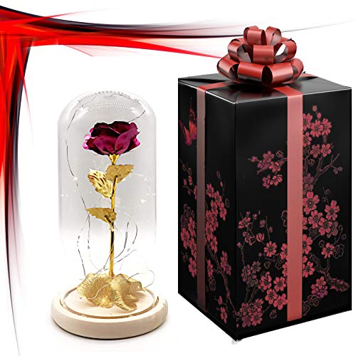 (24K Gold Dipped Red Artificial Rose Preserved in Glass Dome with LED Light and Elegant Gift Box, Best Gift for Valentine's Day, Mother's Day, Anniversary, Wedding, Birthday Gift, Treating Yourself )