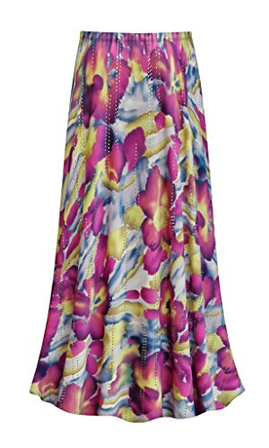 Purple & Lime Floral With Sparkles Slinky Print Plus Size Supersize Skirt 3x