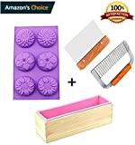 Product review for Kakasogo 2 Pcs Stainless Steel Wavy Straight Soap Cutter+1Pcs Pink Rectangle Silicone Mold with Wood Box+1Pcs 6 Cavity Sunflower Mold for Handmade DIY Cake Moluld Chocolate Bath Bomb Ice Cube Tool Set