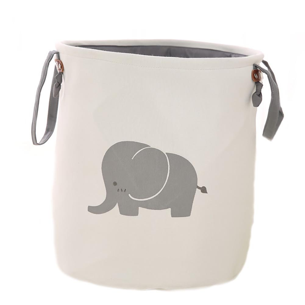 Collapsible Laundry Basket, Dirty Cloth Drawstring Storage Bin Toy Collection Organizer with Two Handles for Nursery Kid's Room - Elephant