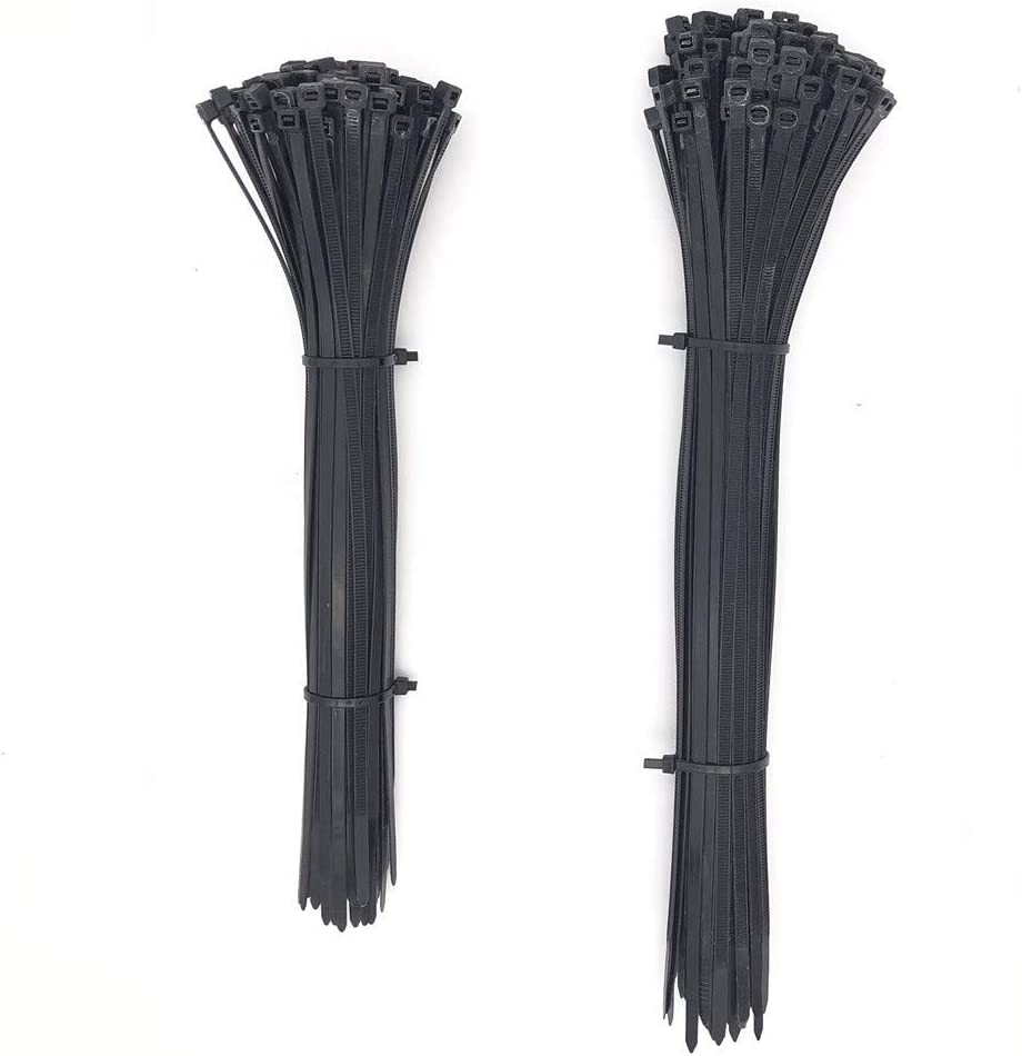 Strong Self-Locking Nylon Cable Zip Ties in 2 Sizes for Multi-Purpose Use 1000 PCS Nylon Cable Ties(6inch+8inch) Black Color