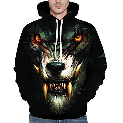 KNDDY Unisex Fashion 3D Digital Galaxy Pullover Hooded Hoodie Sweatshirt Athletic Casual with Pockets