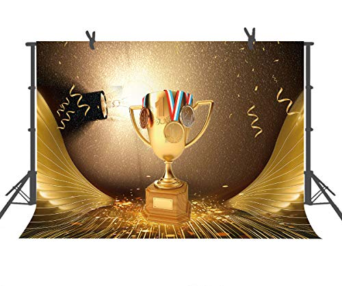 (FUERMOR 7x5ft Golden Champion Trophy Photography Backdrop Props for Children Photo Background HXFU152 )