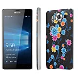 Microsoft Lumia 950 Case, [NakedShield] [Matte] Ultra-Slim Jacket Cover Case - [Black Butterfly Flower] for Microsoft Lumia 950