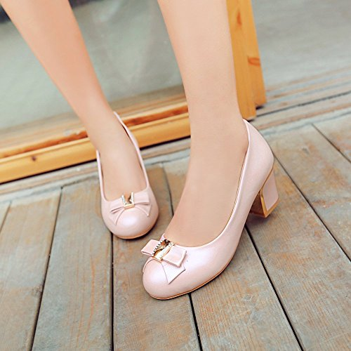 Charm Foot Womens Sweet Mid Chunky Heel Pumps Pink Shoes