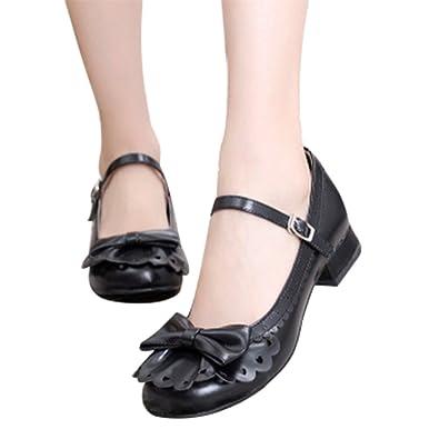 Lorie & Knight Japanese Sweet Lolita Tea Party Shoes Flounce Trim Bowtie  Mary Jane Low Heel