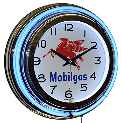 Mobilgas Blue Double Neon Advertising Clock Man Cave Garage Decor