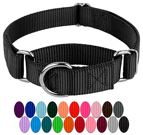 (Country Brook Design | Martingale Heavyduty Nylon Dog Collar - Black - Medium)