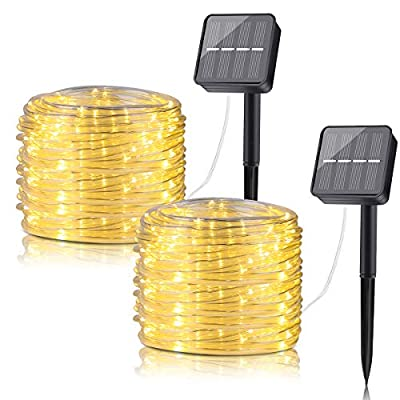 BINZET LED Solar String Lights Outdoor, 33ft Waterproof Clear Tube 8 Modes 100LEDs Solar Fairy Lights for Patio, Deck, Gardens, Backyard, Pergola, Christmas (Warm White, 2 Pack)