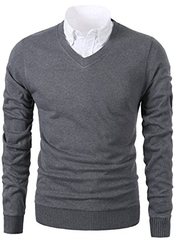 Mesahara Mens Slim Fit Light Weight V-Neck Pullover Sweater (V-neck Men Sweaters Cardigans)
