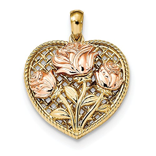 Basketweave Chain Necklace - 20.1mm 14k Yellow and Rose Polished Roses Basketweave Heart Pendant