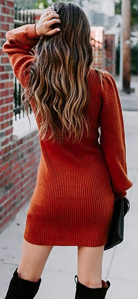 Socluer Abito Eleganti Invernale Donna Collo Alto di Moda Manica Lunga a Lanterna Festa Vestito Casual Vestito