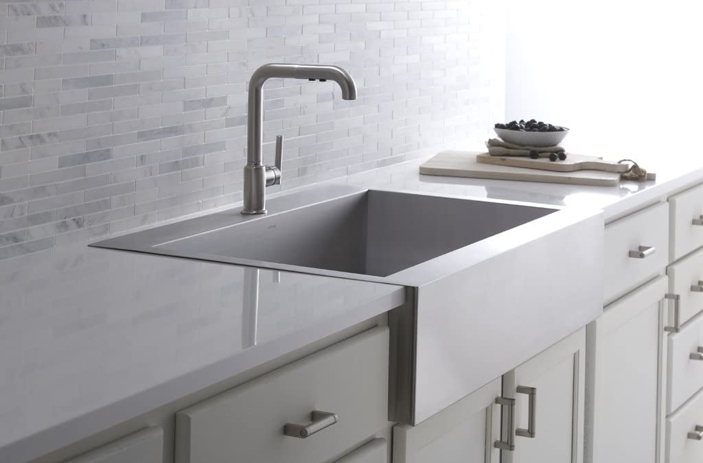 Kohler Vault Single Bowl 18 Gauge Stainless Steel Farmhouse Apron Front Single Faucet Hole Kitchen Sink Top Mount Drop In Installation K 3942 1 Na