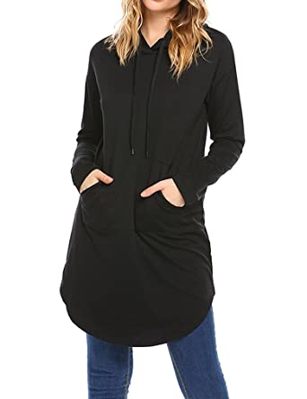 f5266af7056 Locryz Women's Long Sleeve Casual Tunic Sweatshirt Hoodie Dress with Pockets  Black S