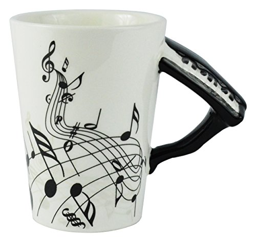 Fairly Odd Novelties Black Piano Coffee Mug, White