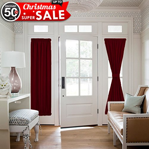 NICETOWN Patio Door Window Drape - Functional Thermal Insulated Blackout Curtain Panel for French Door / Sidelights Door (25W by 72L Inches, Burgundy, 1 Panel)