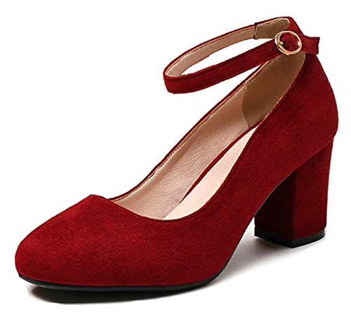 Low Elegant Cut Ankle Toe Shoes Buckled Pumps Strap Mid Womens Heel Aisun Round Block Red Dressy 0qwYBK5