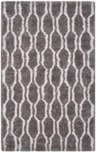 (Safavieh Barcelona Shag Collection BSG322B Handmade Silver and Ivory Polyester Area Rug (8' x 10'))