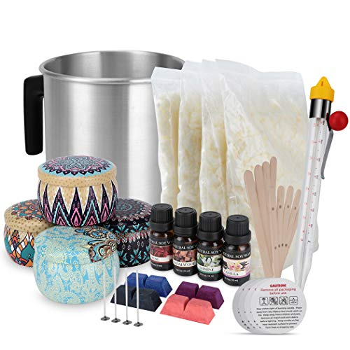 Candle Making Kit Supplies,Scented Organic Soy Wax Candle Making Kit with Essential Oils for Adults Beginners Adult DIY Crafts …