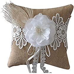"Qisheng Wedding Ring Bearer Pillow,Peacock Feather Burlap Flower Ring Pillow 7.9"" x 7.9"" - Beige"