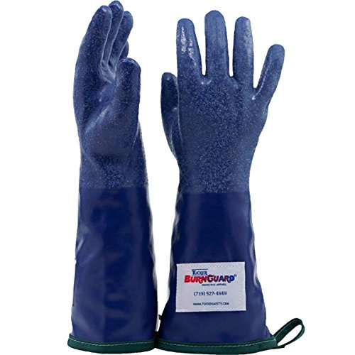 Tucker Safety 92202 Products Tucker SteamGlove Utility Glove, Nitrile, Cotton Lined, 20'', Small, Blue (Pack of 6) by Tucker Safety (Image #1)