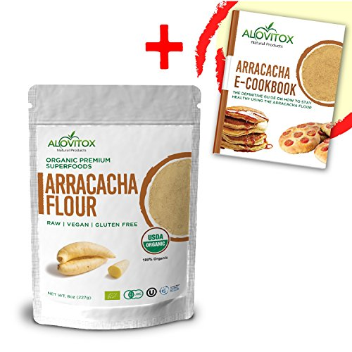 Arracacha Flour - Certified Organic Wheat Substitute, Raw, Gluten Free, Low Carb, Low Calorie Starch - Free E-Cookbook by Alovitox 8oz - Gluten Wheat Starch