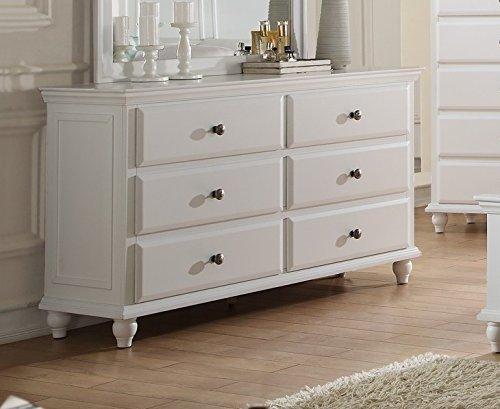 Poundex Elvira White Wood 6-Drawer Dresser
