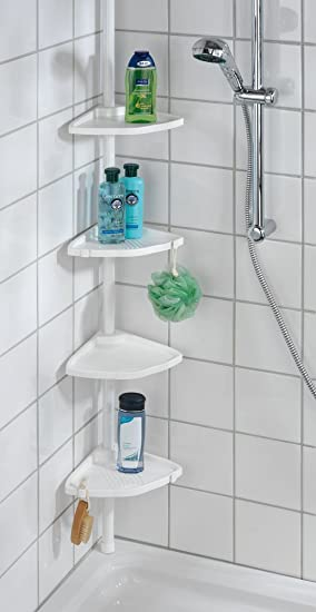 Wenko 3201010100 Rinconera para ducha telescópica Compact blanco - 4 repisas, Aluminio, 26 x 78-275 x 19.5 cm, Blanco: Amazon.es: Hogar