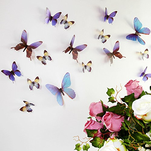 FLY SPRAY Vivid Blue Butterfly Mural Decor Removable Wall Stickers with Adhesive DIY Decals Nursery Wedding Decoration Exquisite 3D Crafts