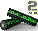 3.7v 18650 Battery   Built-in Over Heat & Charge Protection Board   3400 mAh Li-ion Rechargeable Batteries (2pc PCB Tall(68mm) 3400mAh)