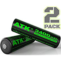 3.7v 18650 Battery | Built-in Over Heat & Charge Protection Board | 3400 mAh Li-ion Rechargeable Batteries (2-Pack)