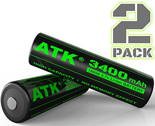 3.7v 18650 Battery | Built-in Over Heat & Charge Protection Board | 3400 mAh Li-ion Rechargeable Batteries (2-Pack) (Mod Cf compare prices)