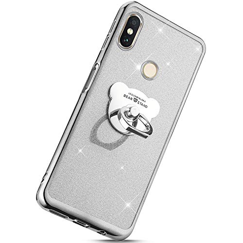 (Herbests Compatible with Xiaomi Redmi Note 6 Pro Case Glitter Girls Women Bling Sparkle TPU Case with Bear Ring Stand Holder Cute Crystal Clear Soft Silicone Rubber Protective Case,Silver)
