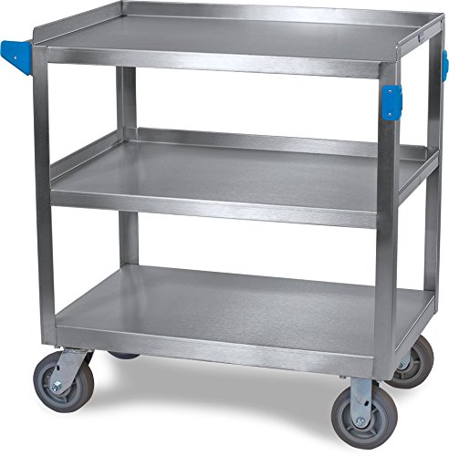 Carlisle UC7032133 Stainless Steel Utility Cart, 700 lbs Capacity, 33'' Long x 21'' Wide x 36'' High, 3 Shelf by Carlisle