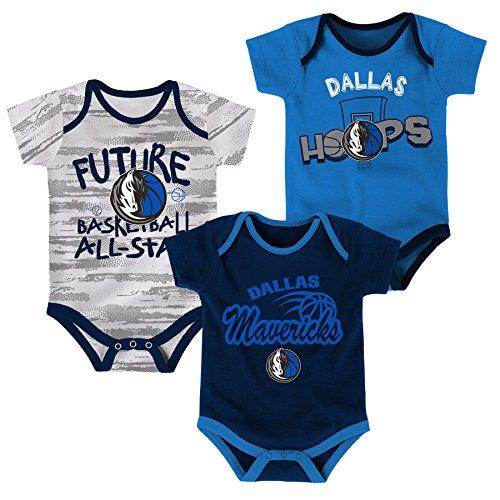 (NBA Newborn & Infant 3 Piece Onesie Set Dallas Mavericks-Dark Navy-12 Months)